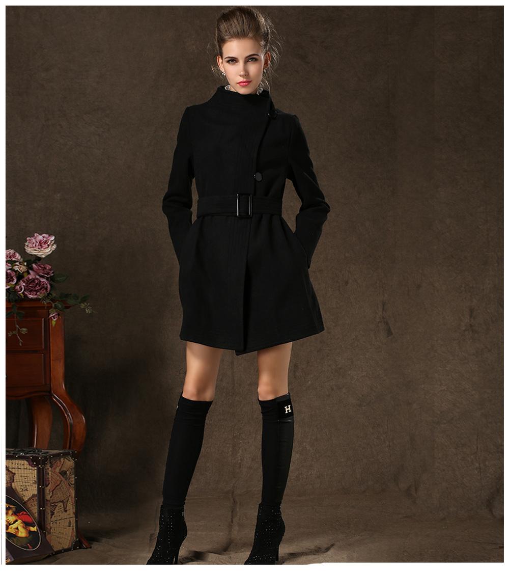 Womens Black Pea Coat Photo Album - Reikian