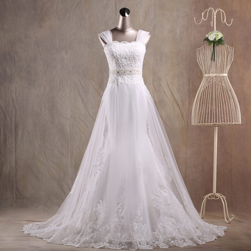 Jaeden mermaid wedding dresses appliques lace tulle cover for Wedding dresses with crystals beading