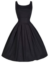 2015 Summer Women Hepburn Dresses O-neck Sleeveless Black Retro Casual Party Robe Rockabilly 50s Vintage Vestidos Plus Size
