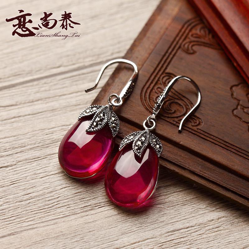 2016 new S925 Silver red corundum Semi-precious stones Red Agate Dangle Earrings folk style retro Earrings Women fashion jewelry(China (Mainland))