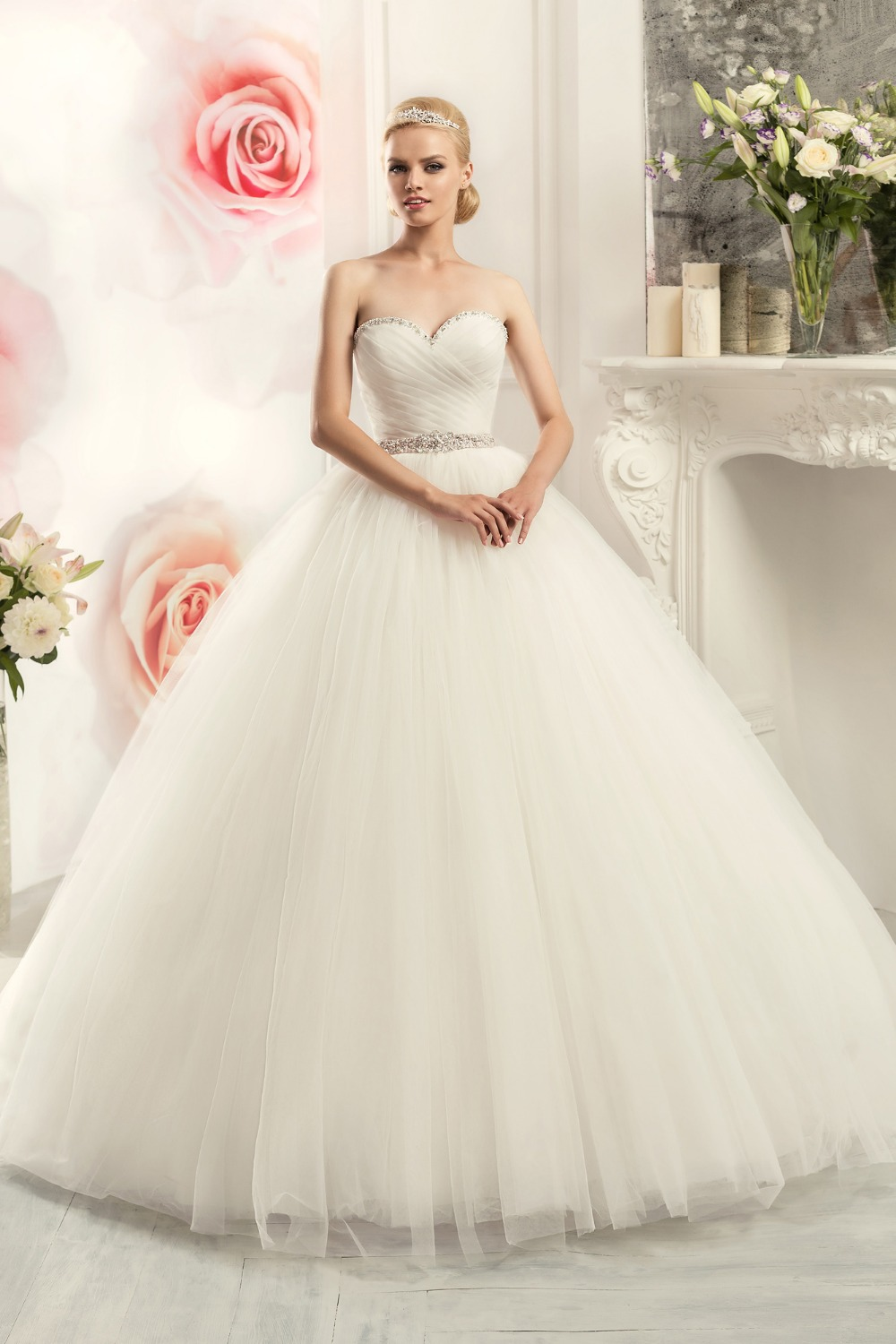 2016 ball gown sweetheart wedding dress shiny beaded for Wedding ball gown dresses