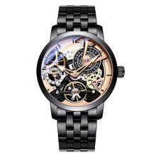 AILANG design Original relógio automático tourbillon relógios de pulso homens montre homme piloto Couro mecânico Esqueleto mergulhador 2019(China)