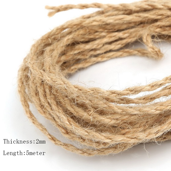 size2mm recoger 4mm 6mm 5 metroslote natural de camo cuerda de yute