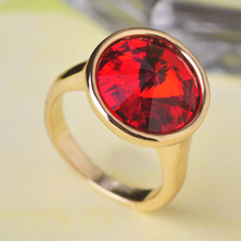 Ruby Jewelry Anel Aneis Austian Crystal Joias Ouro 18K Rings Anillos Acessorios Para Mulher Party Dresses Casamento Buy And Sale