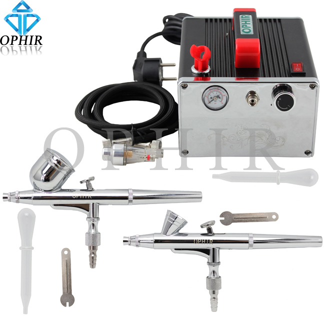 2015 OPHIR 2x Dual-Action Airbrush Kit 0.2mm 0.3mm & Air Compressor for Nail Art Paint 110V,220V#AC091+AC004A+AC073(China (Mainland))
