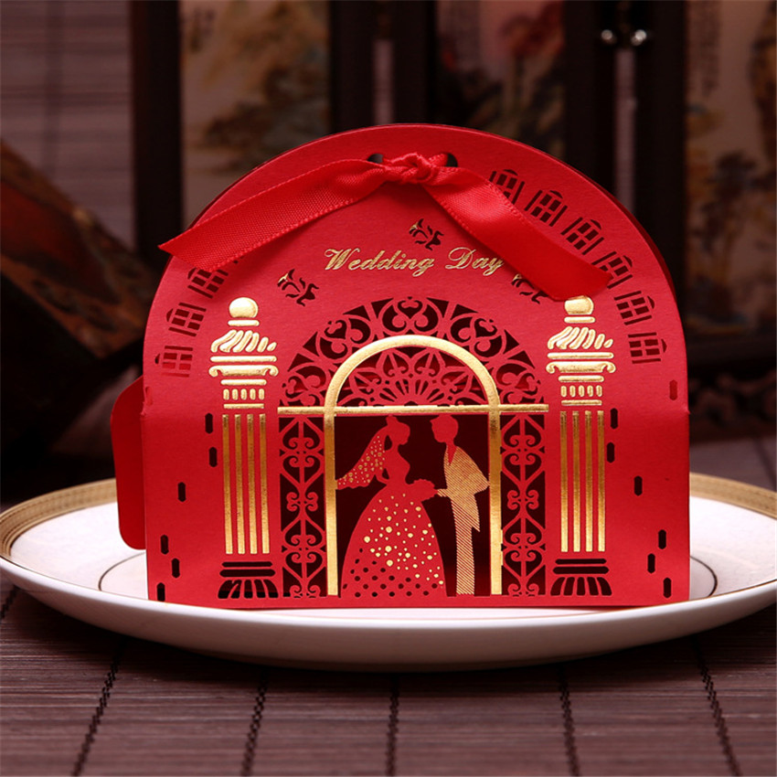 Gorgeous Laser Cut Church Candy Box Casamento Wedding Centerpieces Mariage Decoration Favors Paper Gift Packing Box 50pcs(China (Mainland))