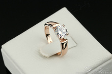 Classic Elegant Cubic Zirconia Engagement Ring Wholesale Gold Plated Crystal Fashion Wedding Jewelry For Man and