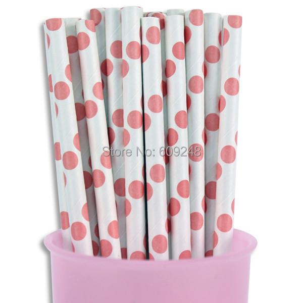 100pcs Mixed Colors Party Pink Polka Dot Paper Straws, Cheap Long Vintage Bulk Partyware Birthday Paper Drinking Straws(China (Mainland))