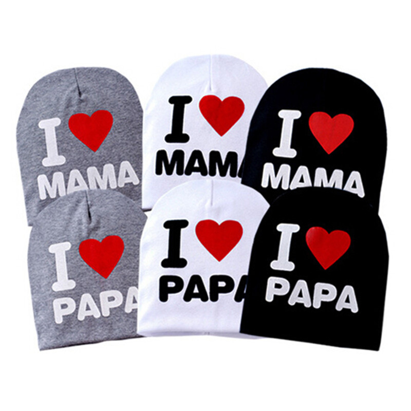 Wholesale Baby Boys Girls Sweet Lovely I LOVE MAMA/PAPA Knitted Warm Cotton Beanie Hat Toddler Infant Letter Print Winter Cap(China (Mainland))