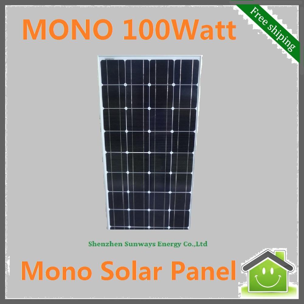 100W Monocrystalline Silicon Solar Panel used for 12V Photovoltaic Power Home System, 100Watt 100WP 12VDC PV Mono Solar Module(China (Mainland))
