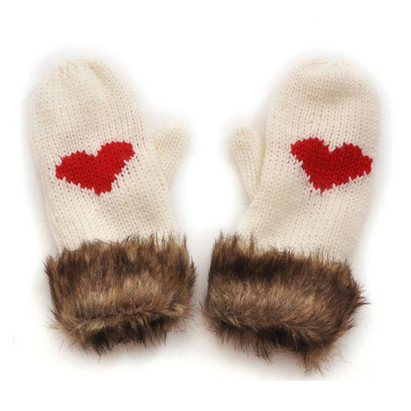 winter women gloves cute lovely Super beautiful wild love heart mittens warm thick wool knitted fur ST6027 - Sky Trade Co., Ltd. store
