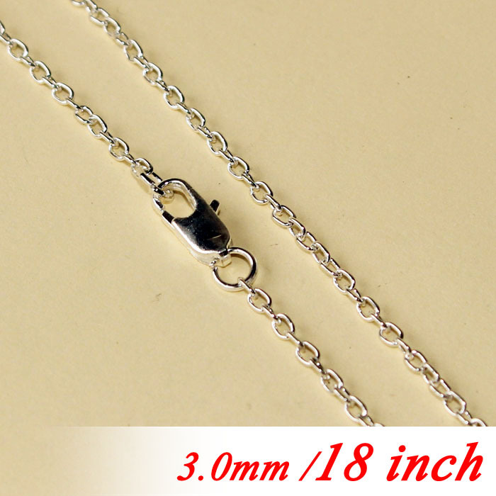 "Здесь можно купить  For Metal Jewelry Links Pendants Findings Women Men Rhodium Plated 18"" Fashion 3mm Jewelry Cable Links With Square Clasps Bulk  Ювелирные изделия и часы"