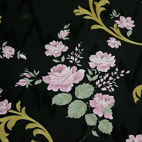 Pastoral wallpaper roll black background pink floral for Jardin floral design