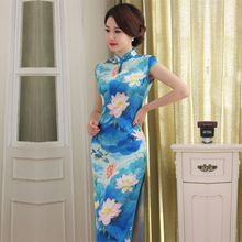 Buy New Arrival Satin Long Cheongsam Fashion Chinese Style Women's Dress Elegant Qipao Vestidos Size S M L XL XXL 246071 for $40.30 in AliExpress store