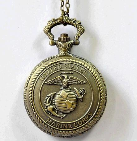 Marine corps Restoring ancient ways Pocket watch necklace fashion personality Seabirds pattern jewelry Commemorative neck ties(China (Mainland))