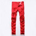 2016 Red White Black Ripped Denim Pant Knee Hole Zipper Biker Jeans Men Slim Skinny Destroyed