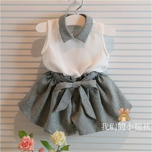 Baby Girls clothes set  white shirt and grey pants summer chiffon 2 pcs clothing set with belt for 3-10years old girls(China (Mainland))