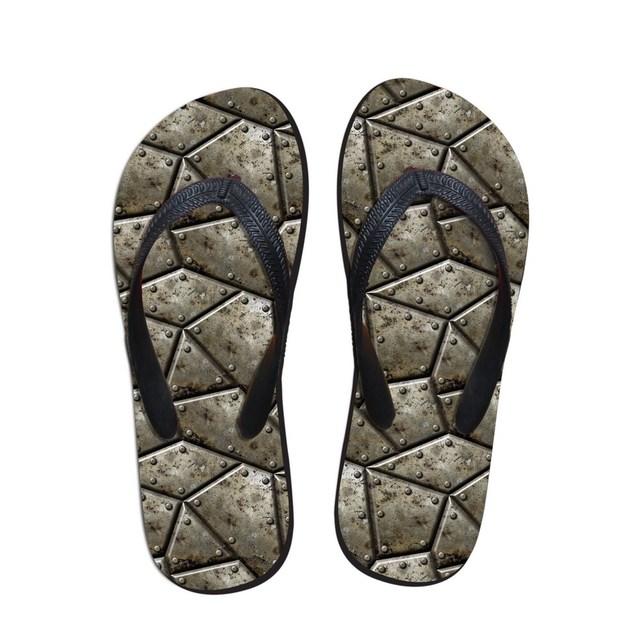Серебряный железный стиль человек мода сандалии открытый берег вьетнамки тапочки ...