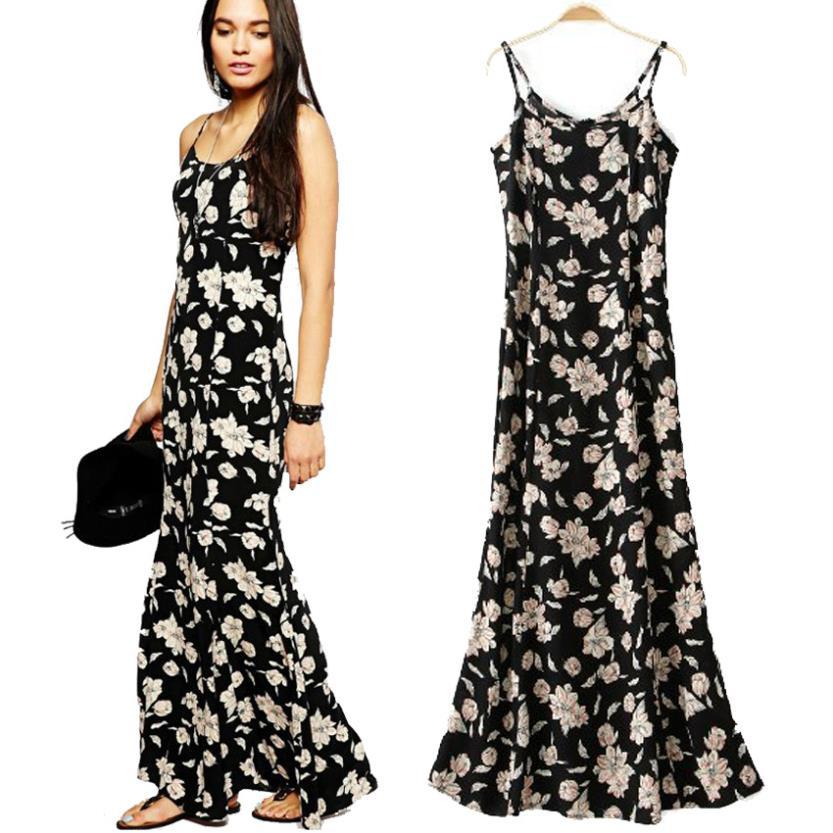 European and American 2016 Summer Long Dress Women New Cotton Flower Print Dresses Sexy Backless Strap Beach Dress Maxi Vestidos(China (Mainland))
