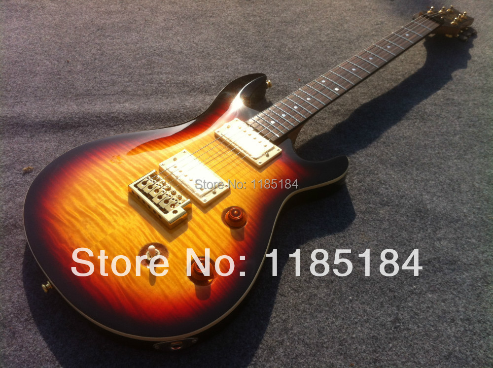 Free shipping cost PRS 24 custom elelctric guitar with sunburst color(China (Mainland))