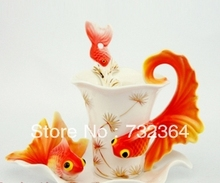 1 cup with tea tray and tea spoon 3D gold fish wedding tea/coffee cup set luxury ceramic China