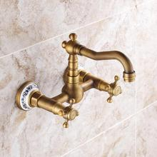 Buy Wall Mounted Dual Handle Bronze Color Kitchen Sink Faucet Brass Hot Cold Water Swivel Spout Mixer Tap JM855 for $53.20 in AliExpress store