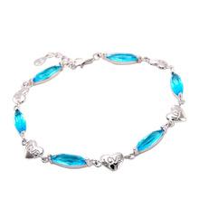 Luxury Kyanite Heart Genuine 925 Sterling Silver Big Beads Women Chain Bracelet Fine Jewelry Pulseira Cadeia Mulheres 83374(China (Mainland))