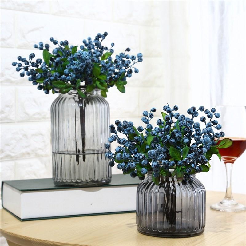 Blueberry Artificial Silk Flowers 10pcs Lot Decorative Fruit Berry Flower Fruits For Wedding Home Decoration