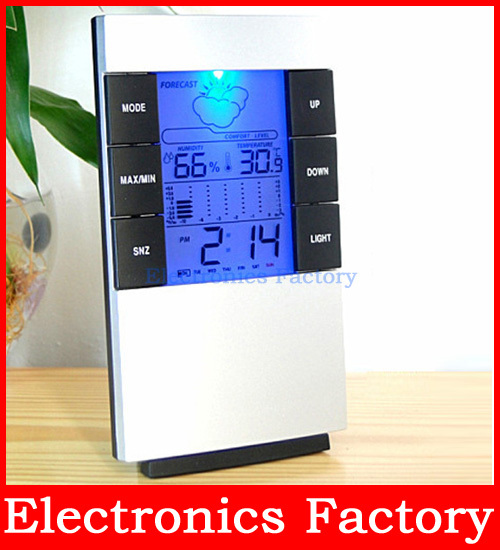 LCD LED Light Digital Indoor Sensors Thermometer Temperature Hygrometer Humidity C/f clock Time Alarm Calendar Backlit Meter - Electronics Factories Agent Trading Co., Ltd store