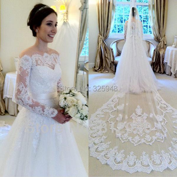 Buy vestido de festa casamento cheap lace cap sleeves long for Custom made wedding dresses nyc