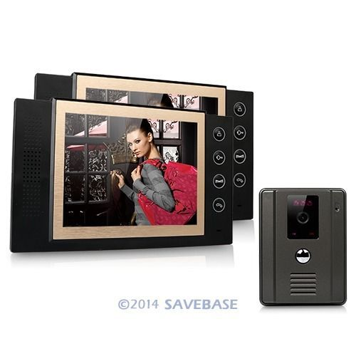 "HOMSECUR Wired Video Door Phone Doorbell 8""Lcd Video Ir Camera Home Security Intercom 1v2(China (Mainland))"