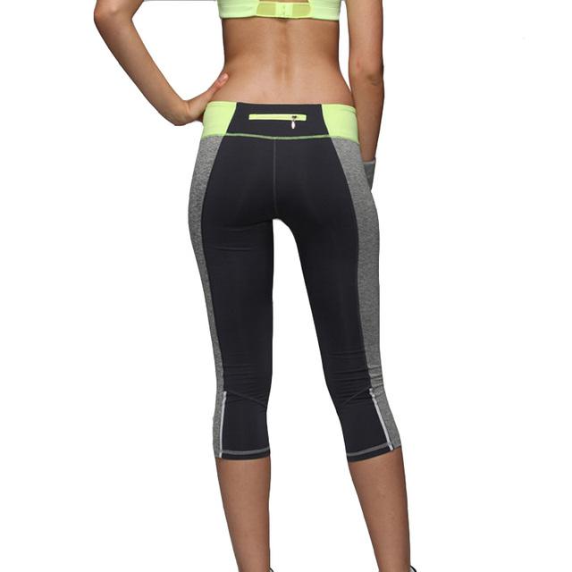 Женщины бег брюки капри лоскутная молния выдвижные спортивные брюки узкие эластичные ...