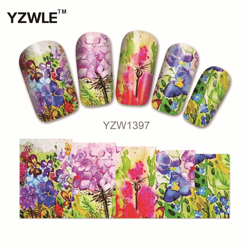 YZWLE 1Pcs Nail Art Water Sticker Nails Beauty Wraps Foil Polish Decals Temporary Tattoos Watermark(YZW1397)(China (Mainland))