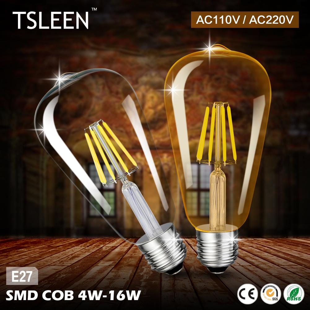 TSLEEN Sale Led Lamp Golden Transparent E27 4 8 12 16W COB LED Edison Filament Light Bulb Vintage ST64 Round Drop Lamps New(China (Mainland))