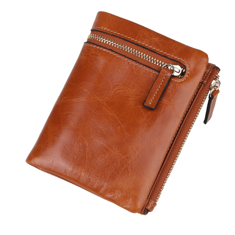 2016 Hot Selling Oil Wax Genuine Cowhide Leather Wallets Women Men Small Short Slim 2 folded Zipper Wallet Bag,YW-DM3053 - China YoMe Bags Co., Ltd. store