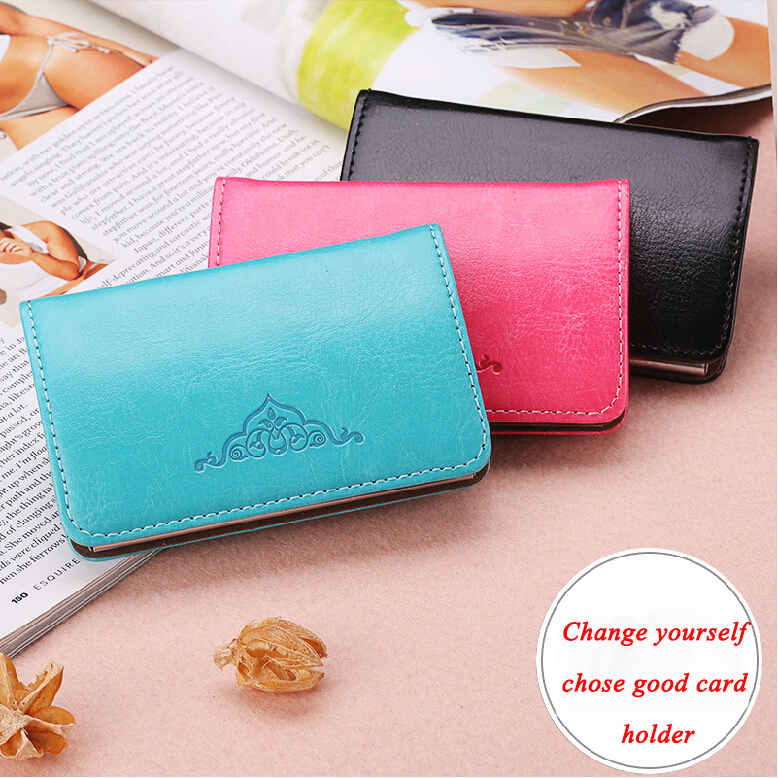 Womens Pu Stainless Steel Business Card Case Top Fashion