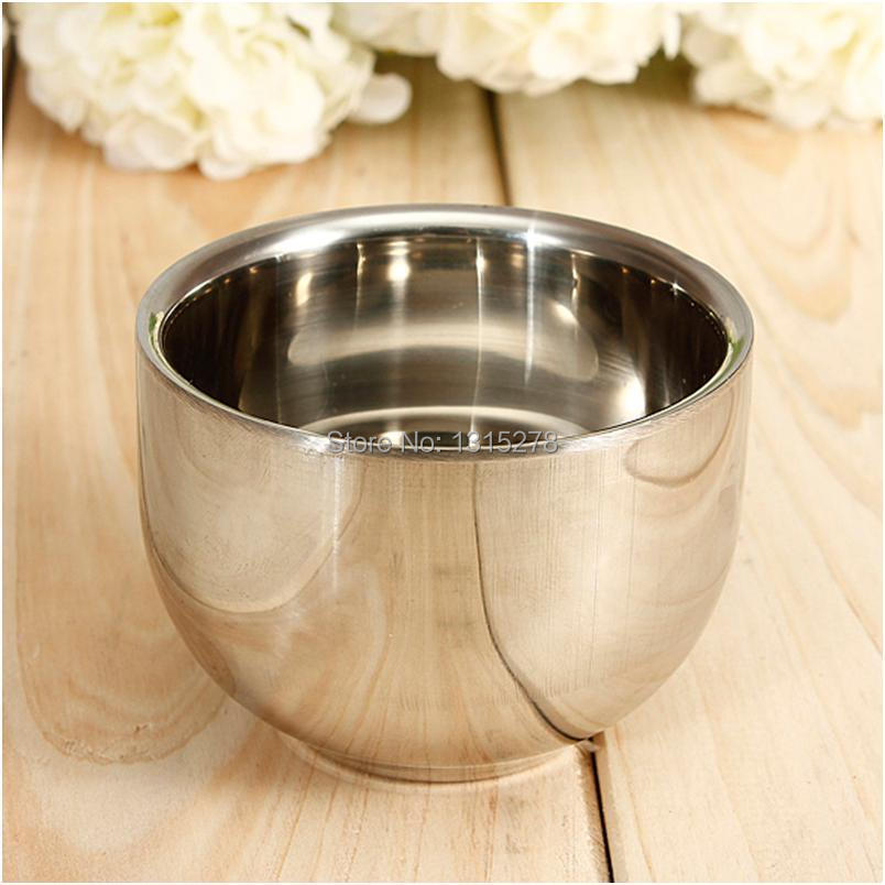 No Min Order Limit+free shipping! Good quality Double Layer Stainless Steel Men's Shave Shaving Soap Cream Bowl Mug Cup(China (Mainland))