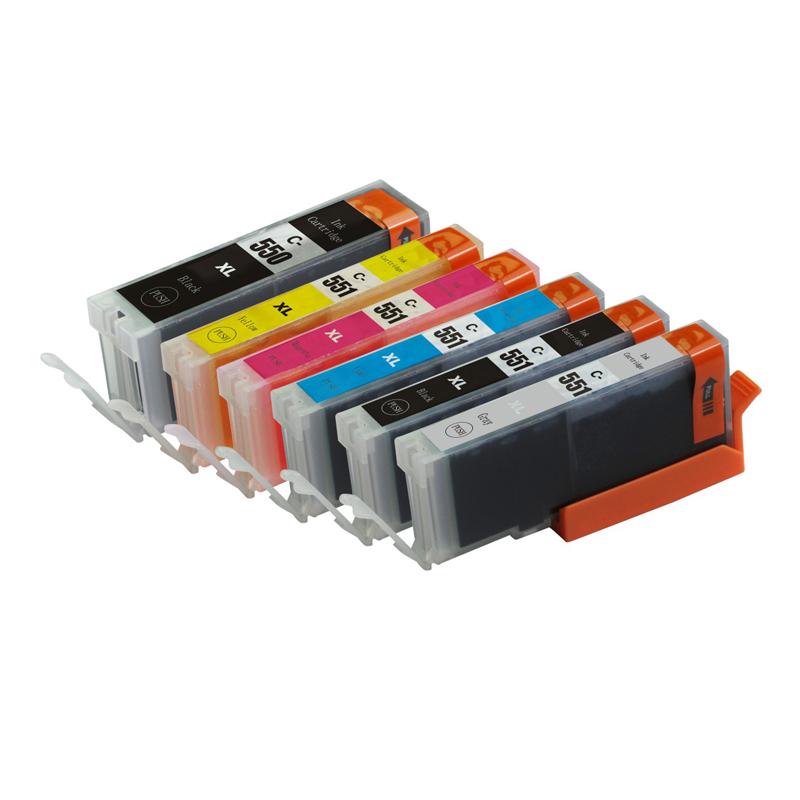 Full ink 6 PCS  ink Cartridge For Canon PGI-550 PGI550 CLI-551 for Canon Pixma MX925 MX725 MG5450 MG5550 MG6350 MG6450 IP7250
