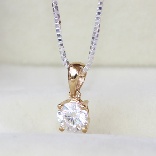 Solid 18k Yellow Gold  0.5 CARAT CT G-H VVS2 Moissanite Solitare Pendant Necklace Lab Grown Diamond Fine Jewelry<br><br>Aliexpress
