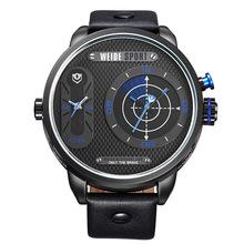 Caliente con estilo gran Dial moda Casual deportes cronómetro a prueba de agua WEIDE hombres del cuarzo de cuero genuino reloj Relogio Masculino