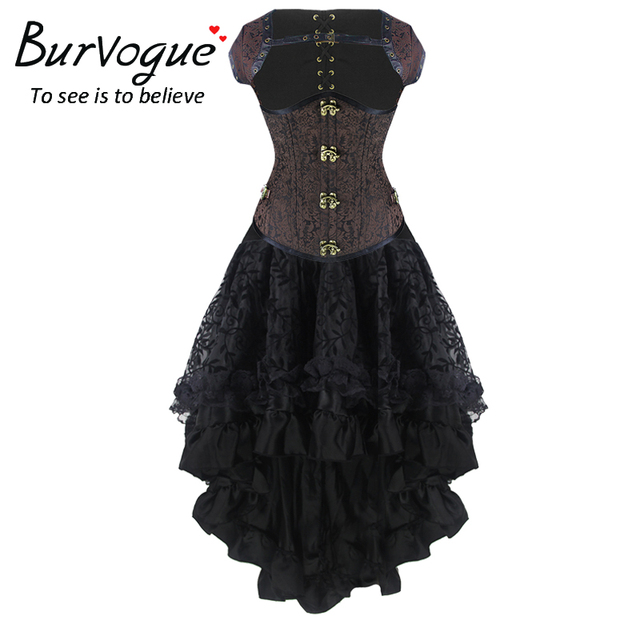 High Waist Elastic Ruffle Thin Steampunk Skirts