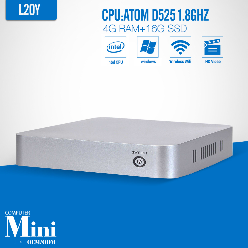 Mini PC D525 4G RAM 16G SSD Computer Case Connect Monitor Laptop Computer Thin Client Keyboard(China (Mainland))