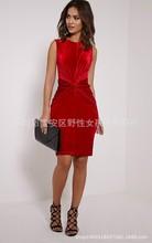 sleeveless women velvet bodycon dress draped waist lady nightclub dresses black red(China (Mainland))
