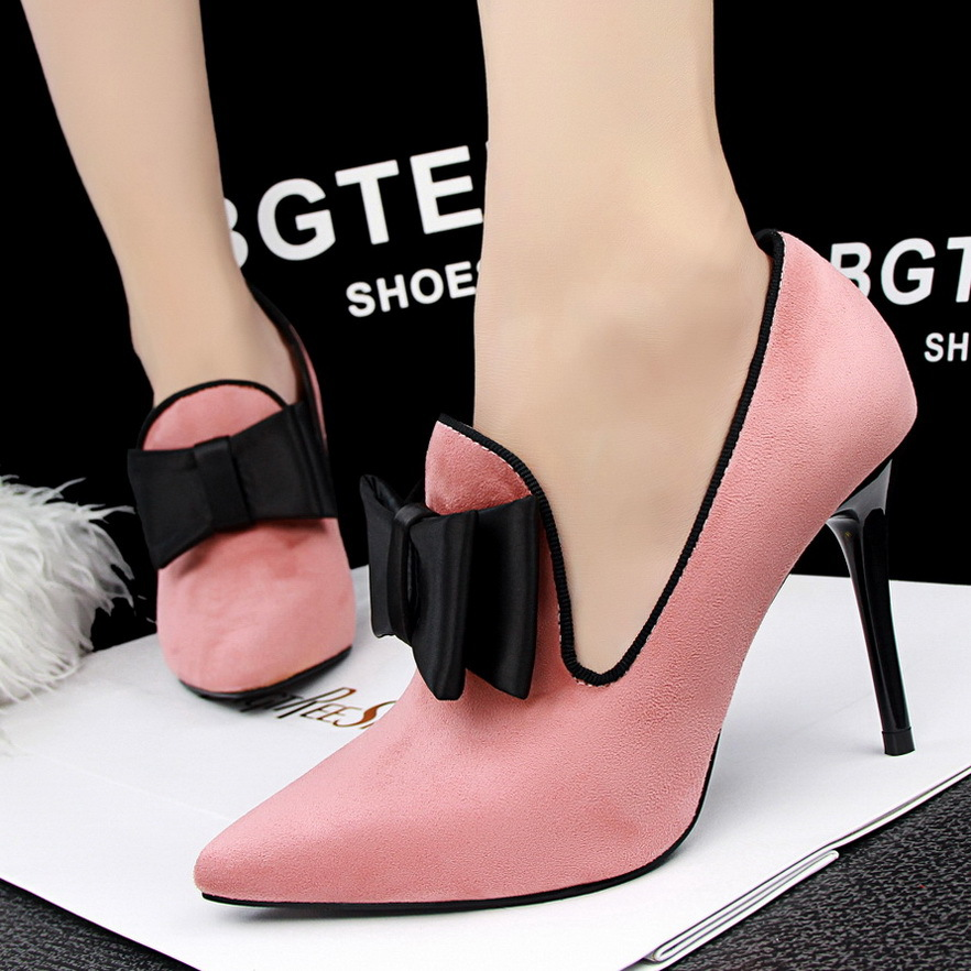 SMYDS-10094 Fashion Sexy Woman Big Bowtie High Heels Shoes Women Pointed Toe Platform Pumps Party/Wedding Heels Shoes<br><br>Aliexpress