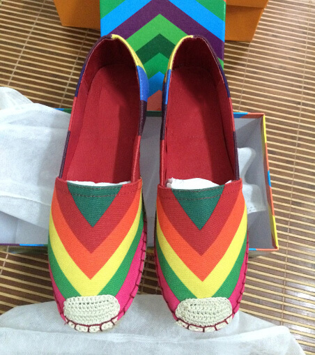 New 2015 Fashion Canvas Women Espadrilles flat shoes Lady Classic rainbow shoes casual Cozy women Brand Designer Loafers Shoes<br><br>Aliexpress