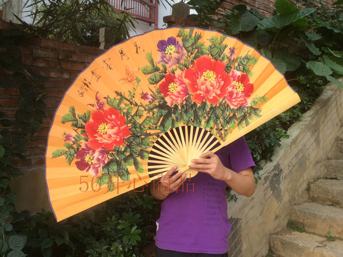 [I AM YOUR FANS]Free shipping 1pc Asian Giant hanging fan Peony Chinese style pic 100% hand painted(China (Mainland))