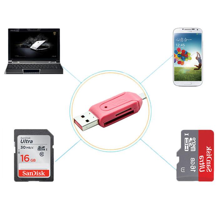 Universal Micro USB OTG Card Reader Micro SD/SD Card Adapter Smart USB Card Reader for samsung Galaxy S2 S3()