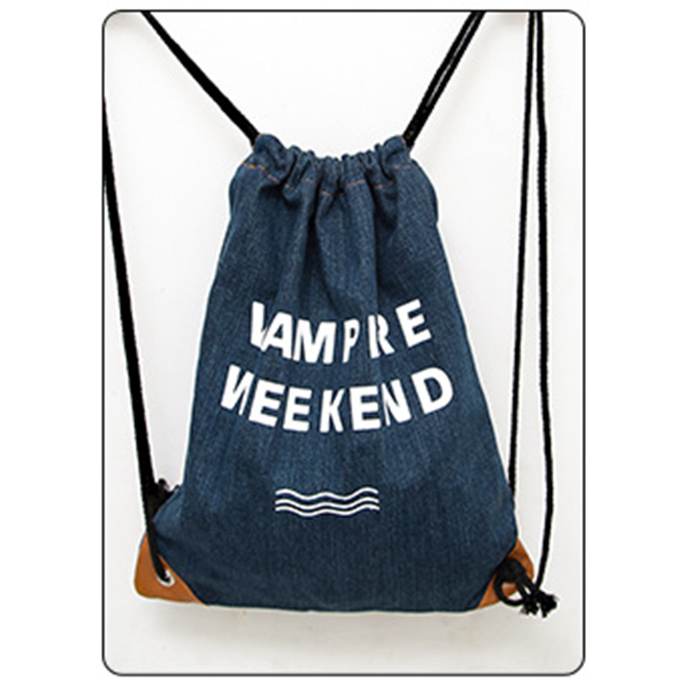 Rucksack Style Fashion School Bags for Girls And Boys Travel Denim drawstring Backpack Students Backpacks for Women