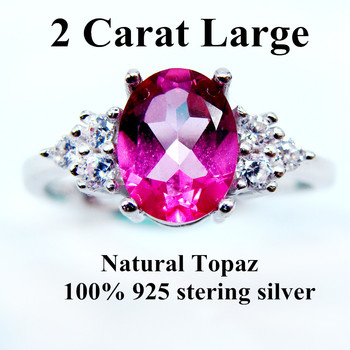 2 CARAT Natural Topaz Ring 925 Stering Silver Ring Gemstone For Women Pink Party Ring Jewelry Christmas Gift Large Gem