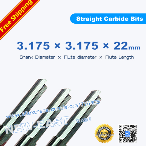 1 2F 3.175*22mm two straight flutes milling tools cnc carving cutting tool bits cutters wood engraving machine - NEW-EAST TRADE store